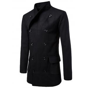 Tie-waist Wool Blend Coat - Black - 2xl
