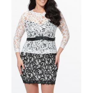 Plus Size Short Lace Bodycon Dress - Black White - 3xl
