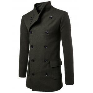 Tie-waist Wool Blend Coat - Army Green - M