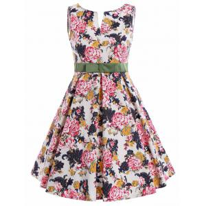 Plus Size Sleeveless Floral Pin Up Dress - Colormix - 5xl