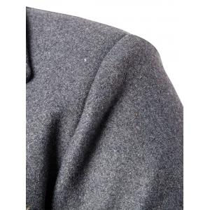 Double Breasted Wool Blend Coat - GRAY 2XL