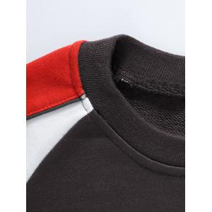 Color Block Crew Neck Raglan Sleeve Sweatshirt - BROWN S
