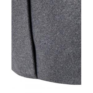 Double Breasted Wool Blend Coat - GRAY XL