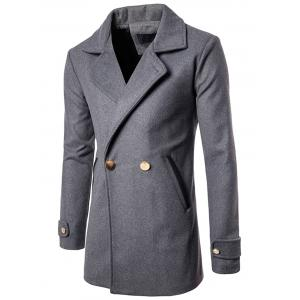Double Breasted Wool Blend Coat - Gray - M