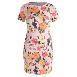Plus Size  Bodycon Floral Dress with Pockets