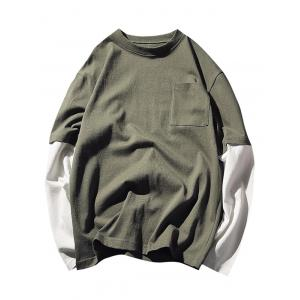 Faux Twinset Crew Neck Pocket Tee - Green - M