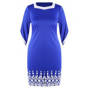 Plus Size Lace Panel Sheath Modest Midi Dress
