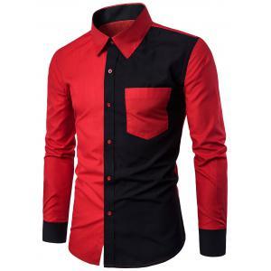Long Sleeve Two Tone Panel Pocket Shirt - Red - 3xl