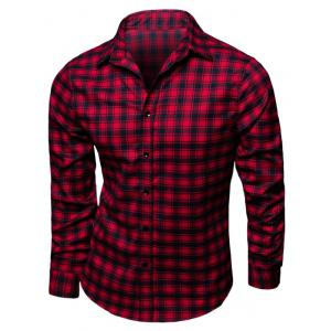 Turndown Collar Long Sleeve Tartan Print Shirt