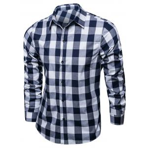 Long Sleeve Color Block Checked Shirt