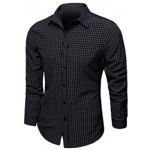 Checked Turndown Collar Long Sleeve Shirt
