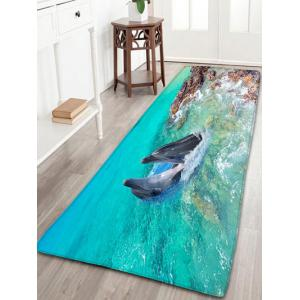 Dolphin Print Bathroom Flannel Antislip Area Rug