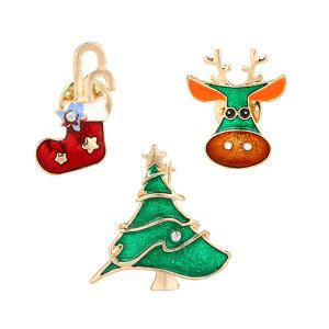 Rhinestone Christmas Sock Deer Tree Brooches