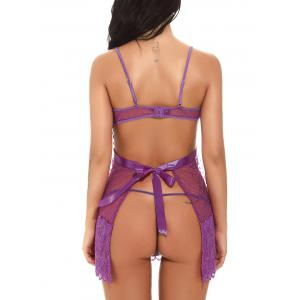 Open Bust See Through Backless Babydoll - Pourpre 2XL