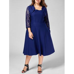 Plus Size Lace Trim A Line Midi Dress - Blue - 8xl