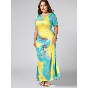 Tie Dye Plus Size Maxi Tee Shirt Dress - YELLOW 4XL