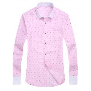 Pocket Polka Dot Long Sleeve Shirt