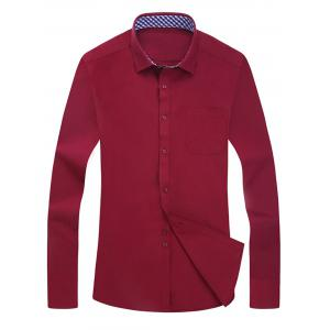 Plaid Trim Pocket Long Sleeve Shirt - Wine Red - 40