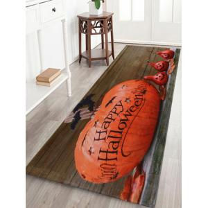 Halloween Pumpkin Wood Pattern Anti-skid Water Absorption Area Rug - Orange Red - W24 Inch * L71 Inch
