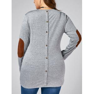 Back Button  Elbow Patch Plus Size Long Sleeve T-shirt - Gray - 5xl