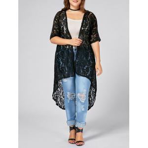 Plus Size  Long Open Front Lace Crochet Cardigan - Black - Xl
