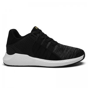Breathable Pinstripe Athletic Shoes - Black - 41