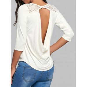 Lace Panel Back Draped Top - White - S