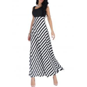 Empire Waist Sleeveless Striped Long Maxi Dress