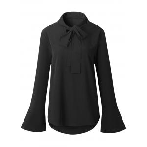 Casual Self Tie Flare Sleeve Blouse - Black - Xl