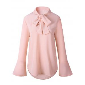 Casual Self Tie Flare Sleeve Blouse - Pink - L