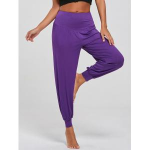 Casual High Waist Relaxed Fit Yoga Pants - Purple - S