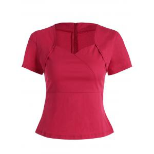 Sweetheart Neck Vintage Blouse - Red - Xl