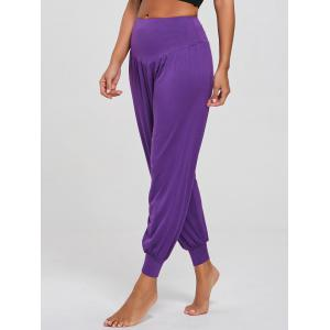 Casual High Waist Relaxed Fit Yoga Pants - Pourpre XL
