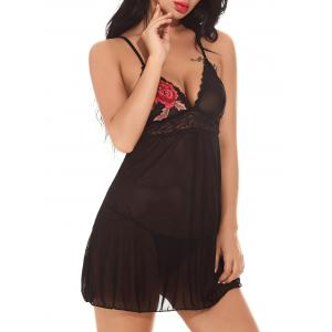 Applique Mesh See-Through Babydoll - Noir S
