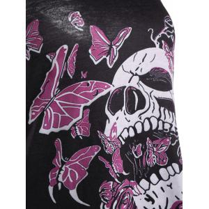Skull Butterfly Plus Size Tunic Racerback Tank - BLACK 5XL