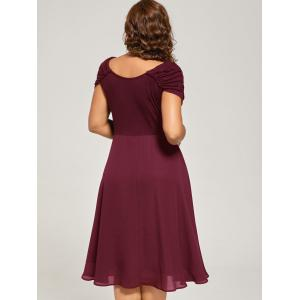 Plus Size Cap Sleeve Chiffon Ruched Dress - WINE RED 5XL