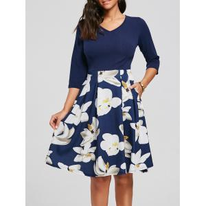 Floral Print Dress with Pockets - Purplish Blue - S