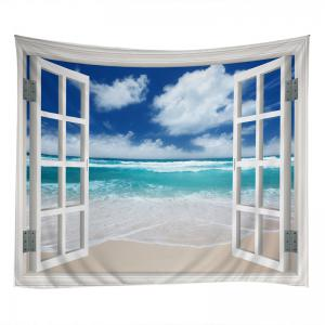 Window Beach Print Tapestry Wall Hanging Art Decoration - LAKE BLUE W79 INCH * L71 INCH