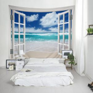 Window Beach Print Tapestry Wall Hanging Art Décoration -