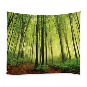 Fog Forest Print Tapestry Wall Hanging Decoration - Vert