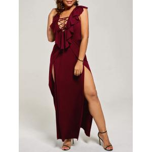 Plus Size Flounce Lace Up Maxi High Slit Dress