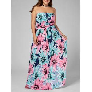 Floral Plus Size Long Strapless Dress