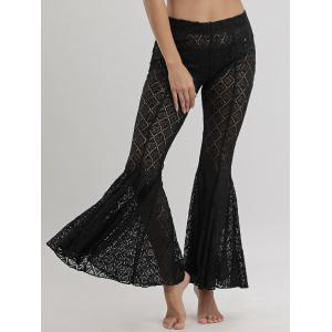 Flare Lace Cover Up Pants - BLACK L