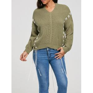 Drop Shoulder Criss Cross Pullover Sweater