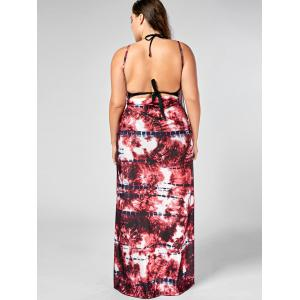 Tie-Dye Plus Size Wrap Cover Up Dress - Rouge XL