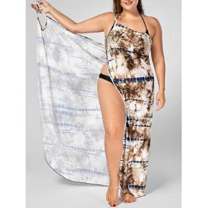 Tie-Dye Plus Size Wrap Cover Up Dress