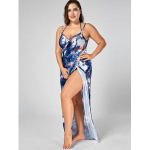 Tie-Dye Plus Size Wrap Cover Up Dress - BLUE 4XL
