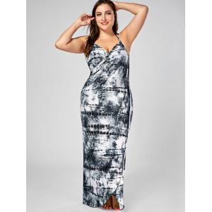 Tie-Dye Plus Size Wrap Cover Up Dress - BLACK 5XL