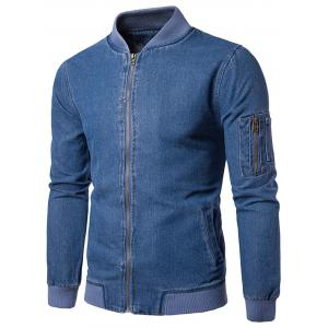 Ribbed Hem Zip Up Denim Jacket