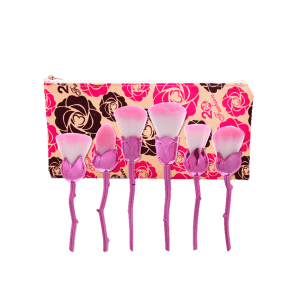 6Pcs Rose Design Makeup Brushes Set With Floral Bag -